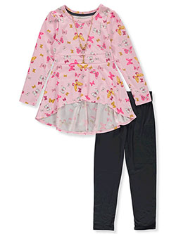 Butterfly Print 3-Piece Leggings Set Outfit by One Step Up in Pink