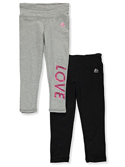 Girls' Love 2-Pack Leggings by RBX in Heather gray/black