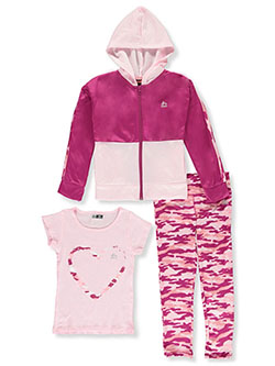 Girls' Camo Heart 3-Piece Leggings Set Outfit by RBX in Berry