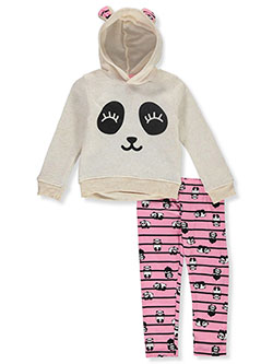 Panda 2-Piece Leggings Set Outfit by Colette Lilly in Oatmeal, Girls Fashion