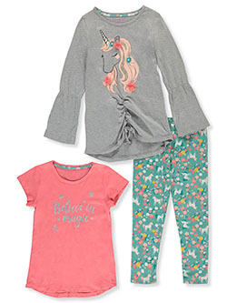 Unicorn 3-Piece Leggings Set Outfit by Colette Lilly in Gray, Girls Fashion