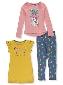 Cat 3-Piece Leggings Set Outfit by Colette Lilly in Mustard, Girls Fashion