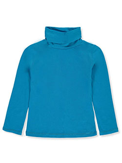 Girls' Stretch Neck Turtleneck by Qtee in blue, pink and white, Sizes 4-6X