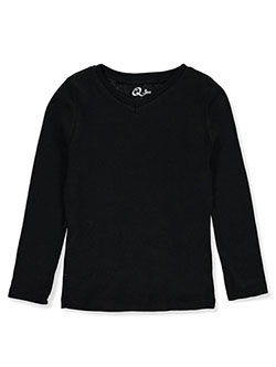 Girls' V-Neck L/S T-Shirt by Qtee in black, blue, pink and white, Girls Fashion