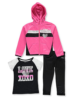 Sport Stripe 3-Piece Leggings Set Outfit by XOXO in Pink, Girls Fashion
