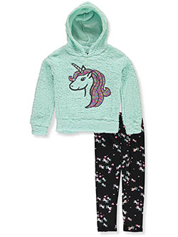 Unicorn Plush 2-Piece Leggings Set Outfit by One Step Up in Mint, Girls Fashion