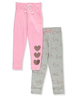 Girls' Sequin Heart 2-Pack Joggers by Love Republic in Pink/gray