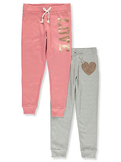 Girls' Sequin Love 2-Pack Joggers by Love Republic in Mauve/gray