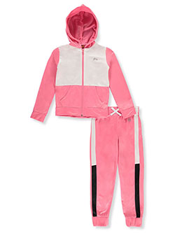 Girls' Panel Hoodie 2-Piece Tracksuit Outfit by RBX in Pink
