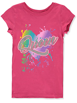 Girls' Queen Heart T-Shirt by One Step Up in Pink, Girls Fashion