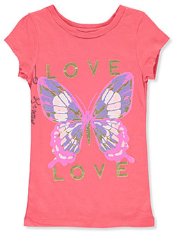 Girls' Love Butterfly T-Shirt by One Step Up in Coral, Girls Fashion