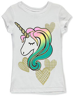 Girls' Heart Unicorn T-Shirt by One Step Up in White, Girls Fashion