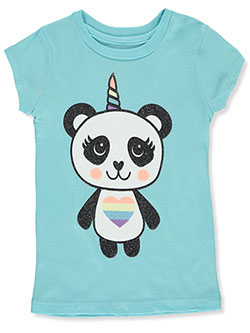 Girls' Panda Unicorn T-Shirt by One Step Up in Aqua, Girls Fashion