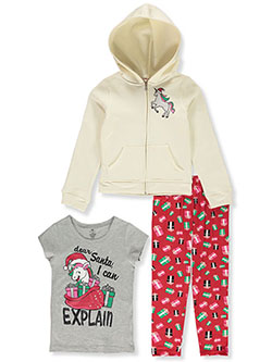 Holiday Unicorn 3-Piece Leggings Set Outfit by One Step Up in Vanilla, Girls Fashion