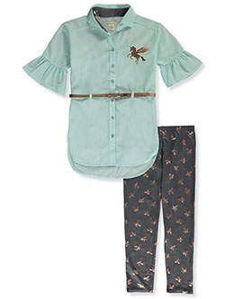 Unicorn Belted Top 2-Piece Leggings Set Outfit by One Step Up in Aqua