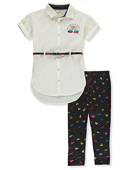 Rainbow Belted Top 2-Piece Leggings Set Outfit by One Step Up in Vanilla