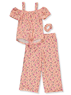 Floral 2-Piece Gaucho Pants Set Outfit by One Step Up in Peach