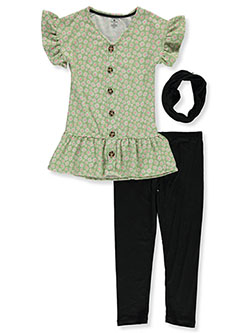 Flowers 2-Piece Leggings Set Outfit With Gaiter by One Step Up in Olive