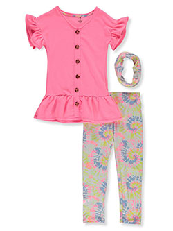 Tie-Dye 2-Piece Leggings Set Outfit With Gaiter by One Step Up in Pink