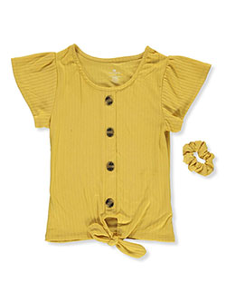 Girls' Short Sleeve Peasant Shirt by One Step Up in Mustard