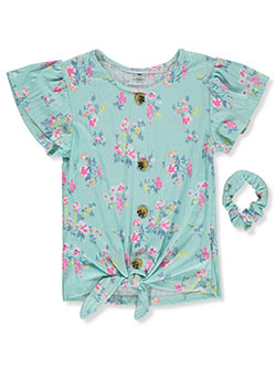 Floral Peasant Top With Scrunchie by One Step Up in Blue