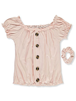 Girls' Peasant Top With Scrunchie by One Step Up in Blush