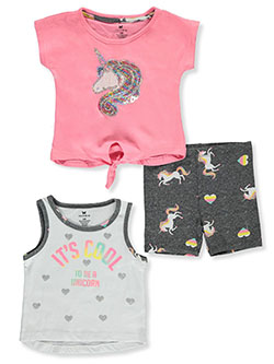 One Step Up Unicorn 3-Pice Bike Shorts Set Outfit by Step Up in Pink/multi, Infants