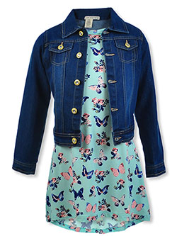 2-Piece Butterfly Dress & Denim Jacket Set by One Step Up in Aqua