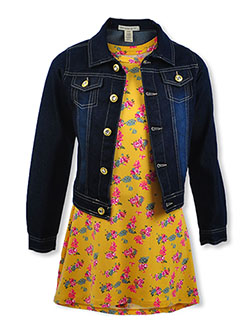 2-Piece Floral Dress & Denim Jacket Set by One Step Up in Mustard