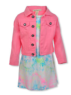 One Step Up 2-Piece Twill Jacket & Tie-Dye Dress Set by Pink Butterfly in White