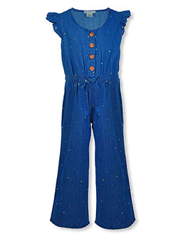 Girls' Chambray Stars Jumpsuit by One Step Up in Medium wash