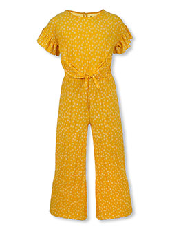 Girls' Floral Jumpsuit by One Step Up in Mustard