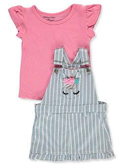 Colette Lilly 2-Piece Uincorn Terry Shortalls Set Outfit by Step Up in Pink/multi, Infants