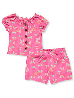 One Step Up 2-Piece Butterfly Shorts Set Outfit by Step Up in Pink/multi, Infants
