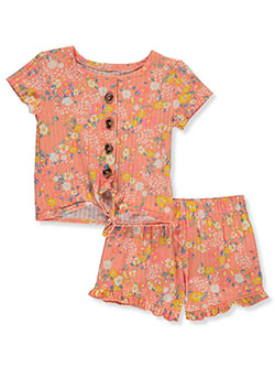 One Step Up 2-Piece Floral Shorts Set Outfit by Step Up in Coral/multi, Infants