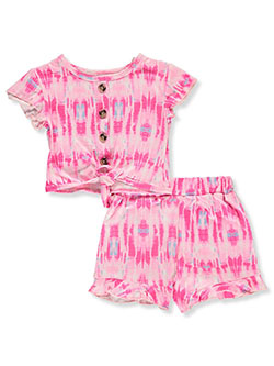 One Step Up 2-Piece Tie-Dye Shorts Set Outfit by Step Up in Pink/multi, Infants