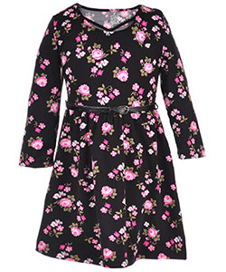 "Star Ride Little Girls' Toddler ""Rosy Crisscross"" Belted Dress (Sizes 2T – 4T) - CookiesKids.com"