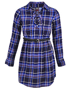 "Star Ride Big Girls' ""Plaid Shirttail"" Belted Dress (Sizes 7 – 16) - CookiesKids.com"