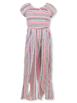 Girls' Striped & Shirred Jumpsuit by Star Ride in Pink/multi - Rompers & Jumpsuits