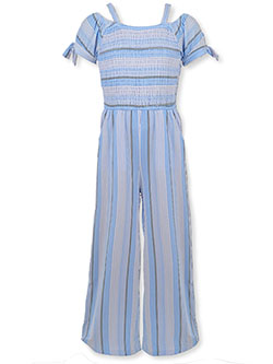 Girls' Stripe Cold Shoulder Jumpsuit by Star Ride in blue and pink