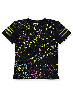 Metallic Colorful Paint Spatter T-Shirt by PANYC in black and white