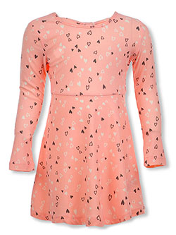 Girls' Star Print L/S Dress by Star Ride in Pink, Girls Fashion