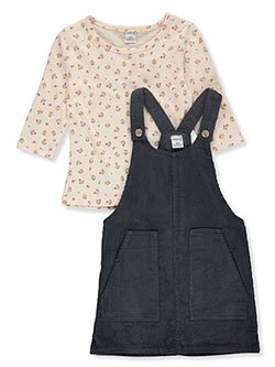 Floral 2-Piece Skirtalls Set Outfit by Wallflower in charcoal and rose - Overalls & Jumpers