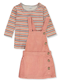 Stripe 2-Piece Skirtalls Set Outfit by Wallflower in coral and olive, Girls Fashion