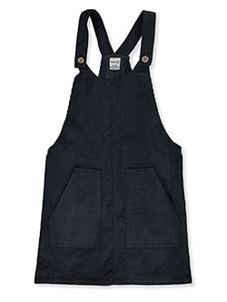 Girls' Front Pocket Corduroy Skirtalls by Wallflower in charcoal and rose - Overalls & Jumpers