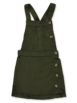 Girls' Side Button Corduroy Skirtalls by Wallflower in Olive - Overalls & Jumpers