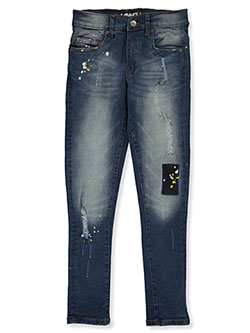 Boys' Splatter Patch Skinny Jeans by Hawk in Indigo
