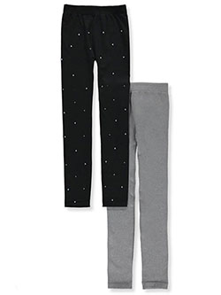 Girls' 2-Pack Leggings by Star Ride in black/gray and charcoal/black