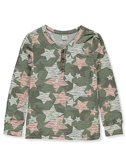 Girls' Star Print Henley Shirt by Wallflower in olive multi and pink/multi