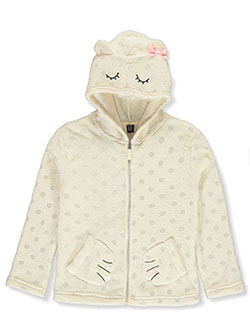 Girls' Bear Plush Zip Hoodie by Star Ride in Ivory